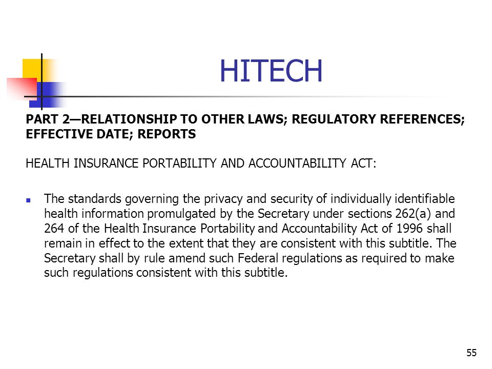 HITECH PART 2—RELATIONSHIP TO OTHER LAWS; REGULATORY REFERENCES; EFFECTIVE DATE; REPORTS. HEALTH INSURANCE PORTABILITY AND ACCOUNTABILITY ACT: