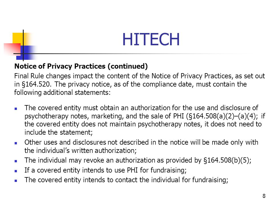HITECH Notice of Privacy Practices (continued)