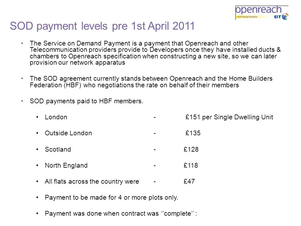 SOD payment levels pre 1st April 2011