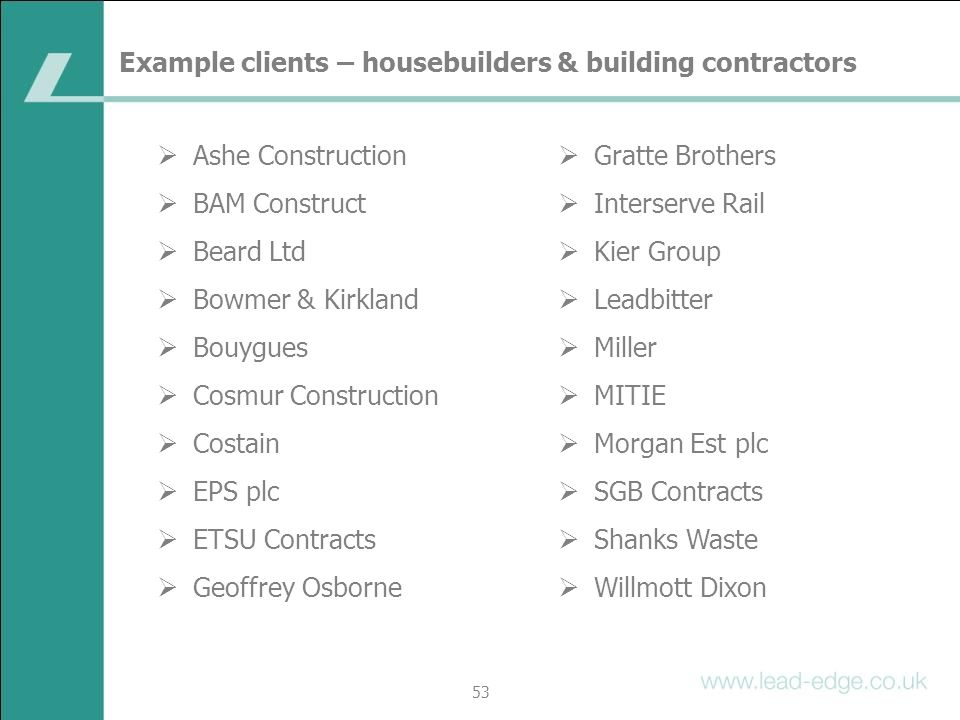 Example clients – housebuilders & building contractors