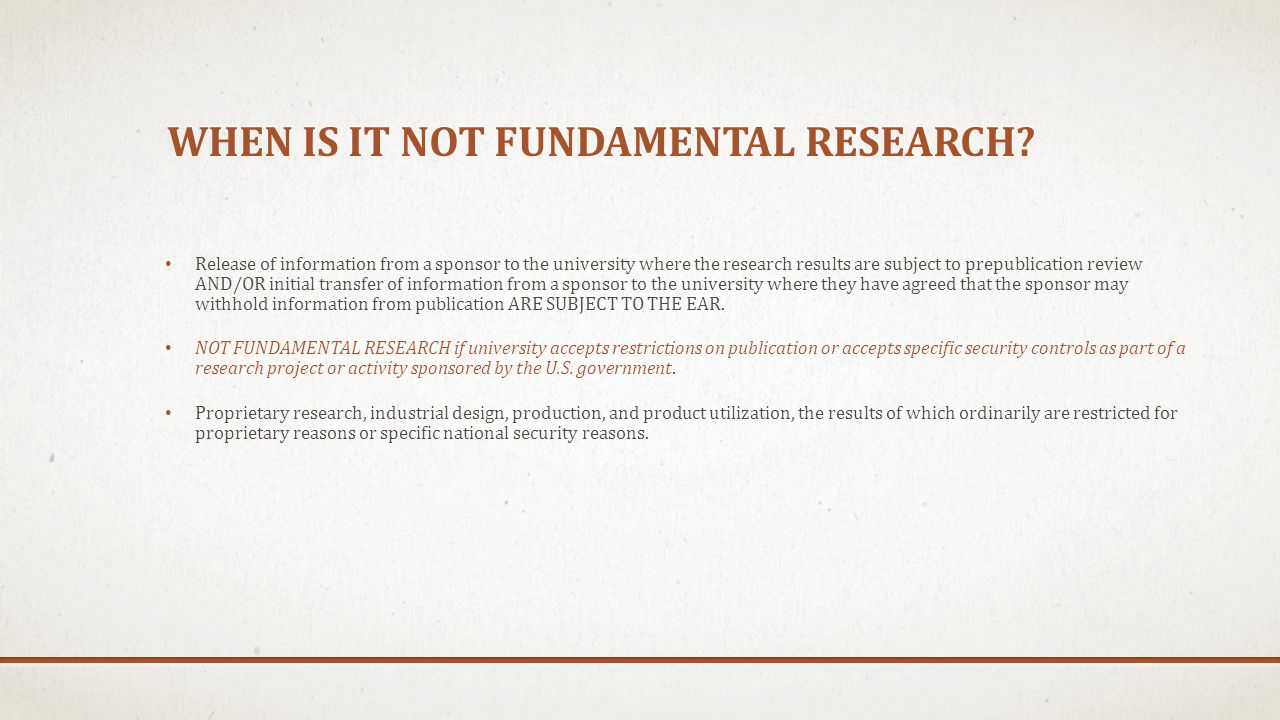 When is it NOT Fundamental Research