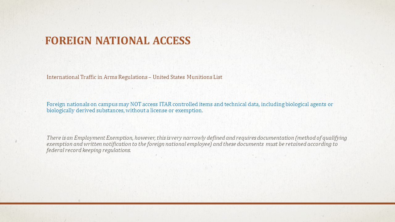 Foreign national access