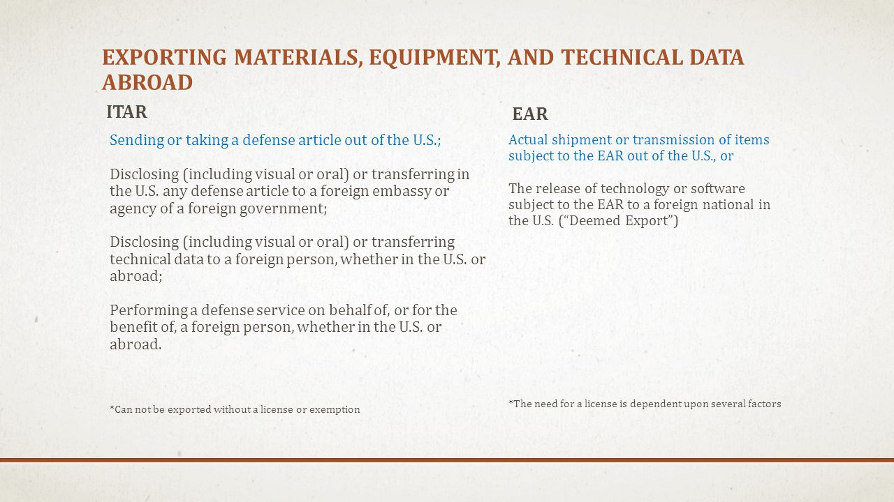 Exporting Materials, equipment, and technical data abroad