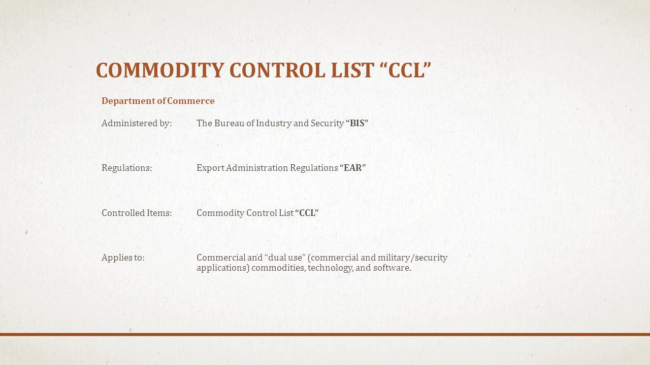 Commodity control list ccl