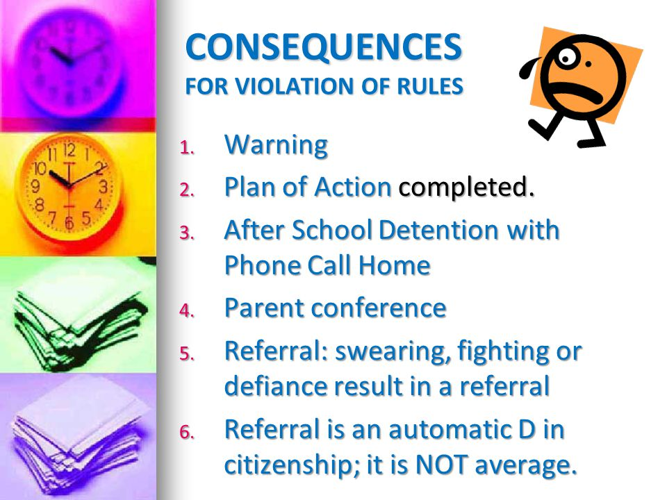 CONSEQUENCES FOR VIOLATION OF RULES