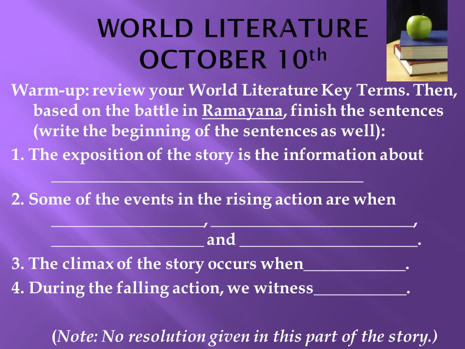 WORLD LITERATURE OCTOBER 10th