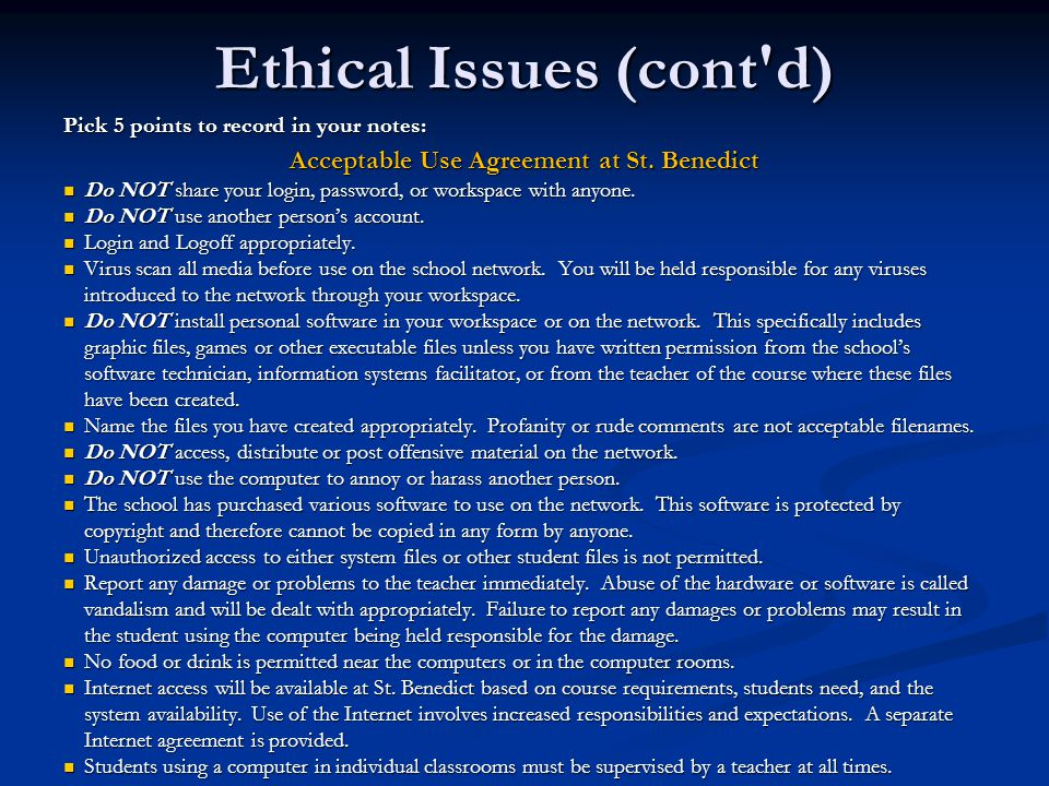Ethical Issues (cont d)