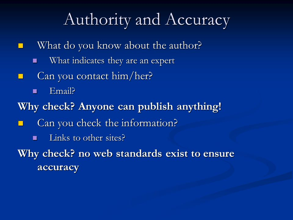 Authority and Accuracy