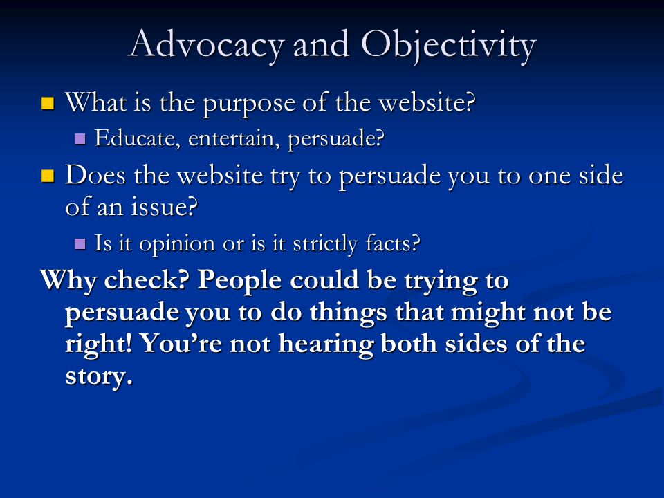Advocacy and Objectivity