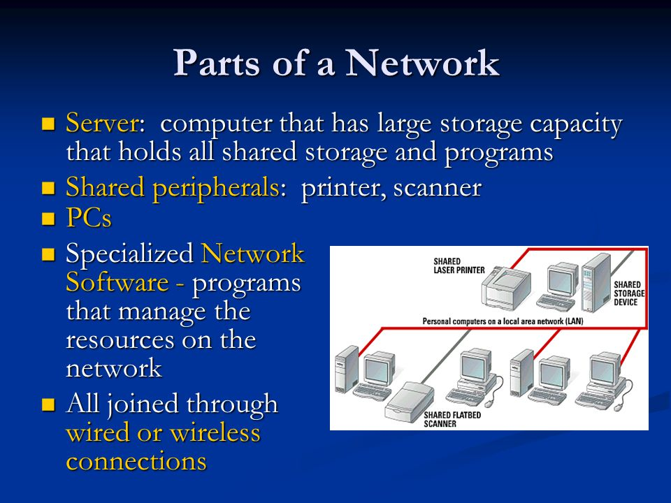 Parts of a Network Server: computer that has large storage capacity that holds all shared storage and programs.