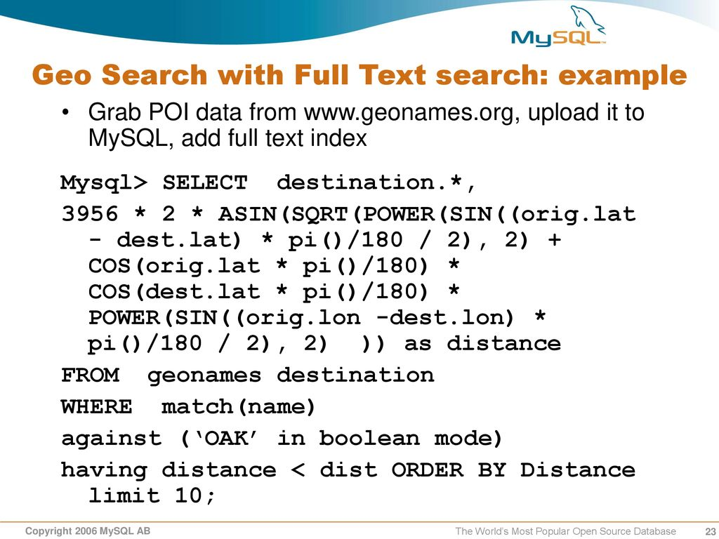 Geo/Spatial Search with MySQL - ppt download