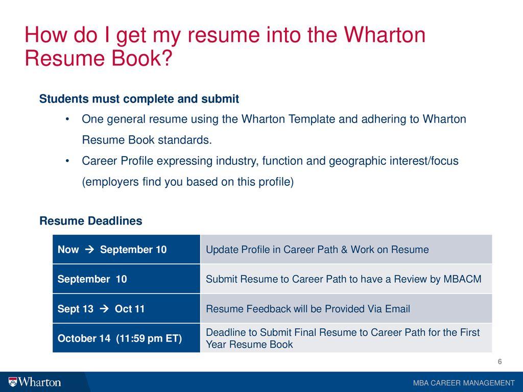 Wharton Resume Book Training - ppt download