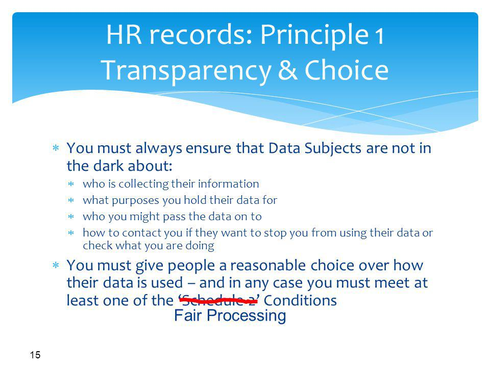 HR records: Principle 1 Transparency & Choice