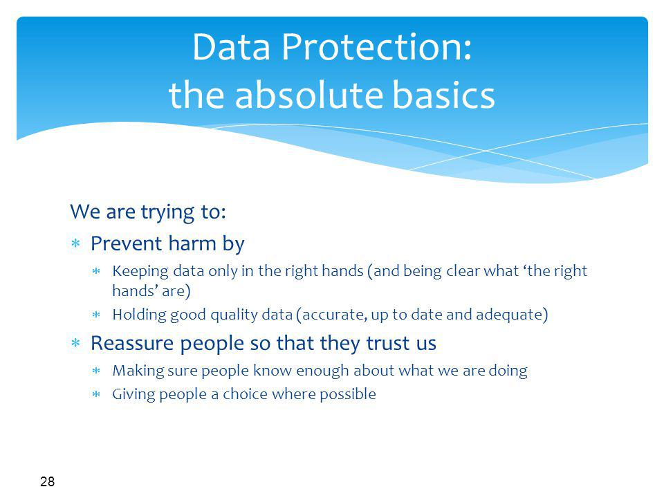 Data Protection: the absolute basics