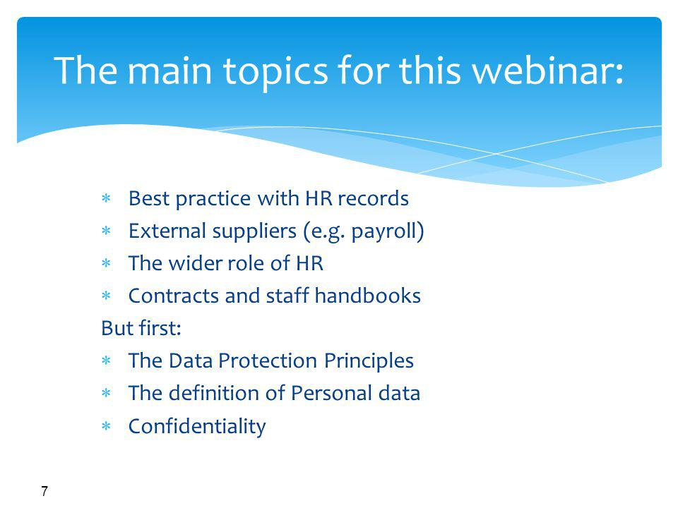 The main topics for this webinar: