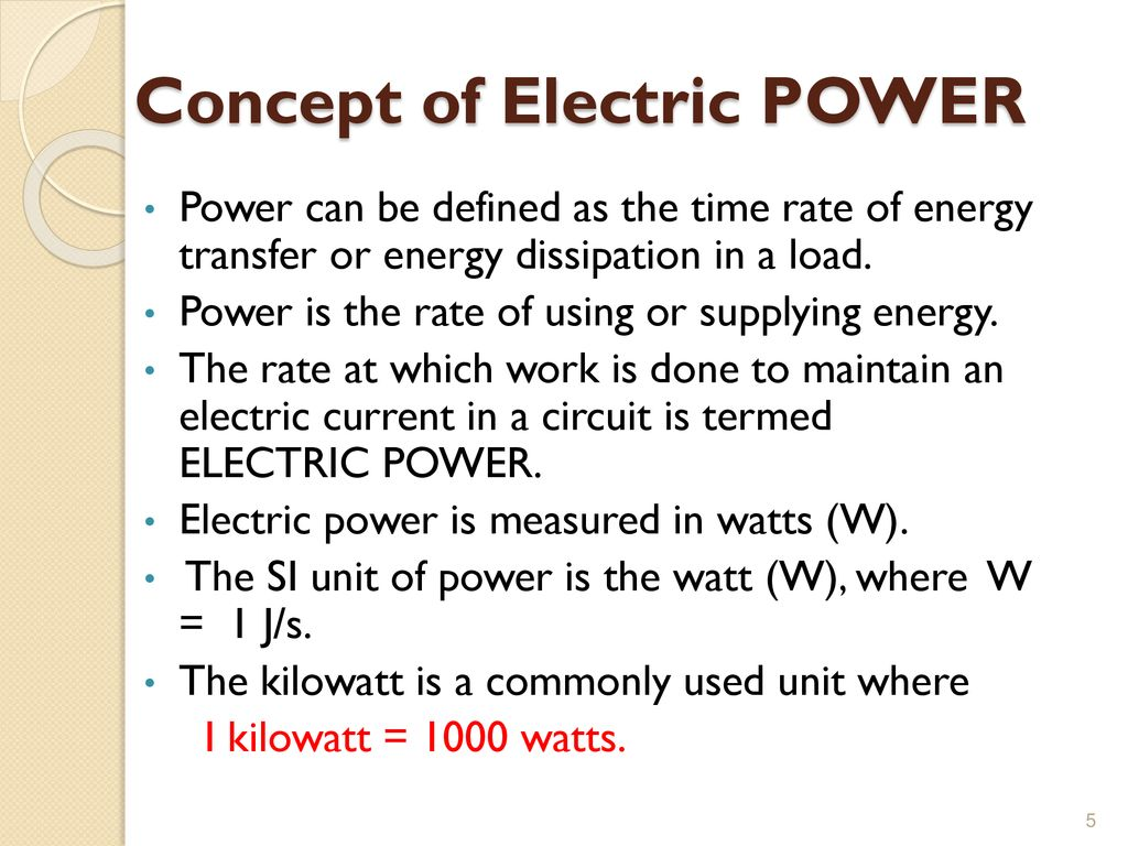 Circuit Electric Power Is Able To Be Measured And Described With Power