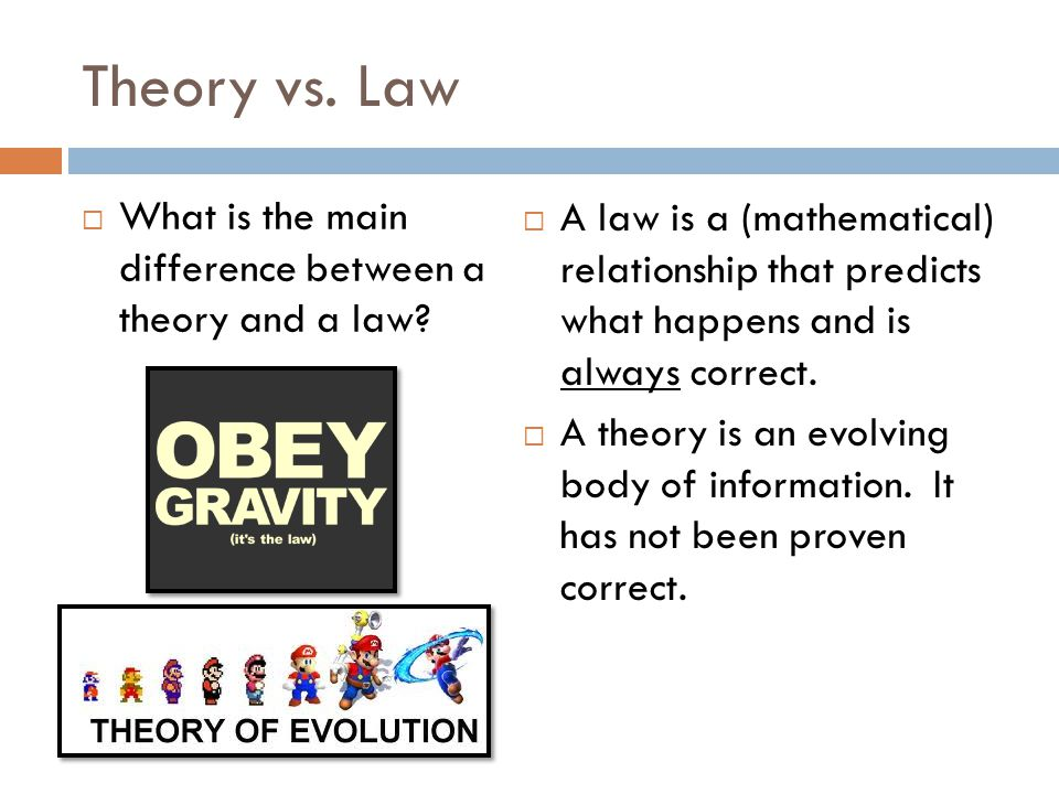 Theory vs. Law What is the main difference between a theory and a law