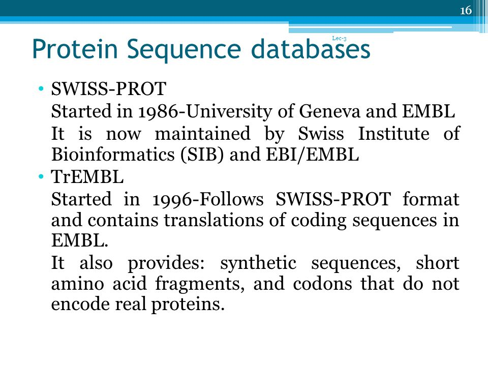 Protein Sequence databases