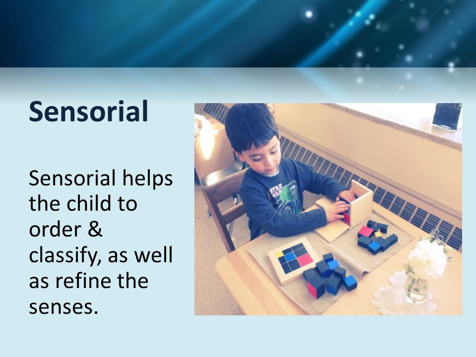 Sensorial Sensorial helps the child to order & classify, as well as refine the senses.