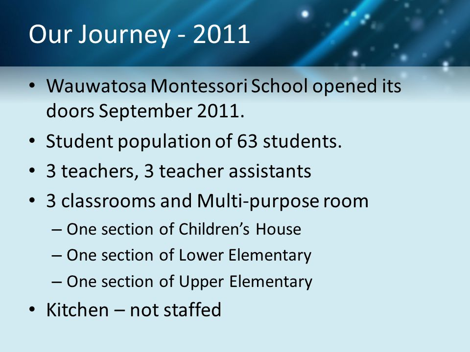 Our Journey - 2011 Wauwatosa Montessori School opened its doors September 2011. Student population of 63 students.