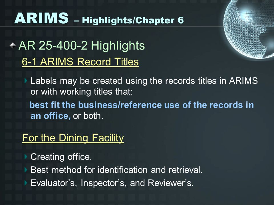 ARIMS – Highlights/Chapter 6
