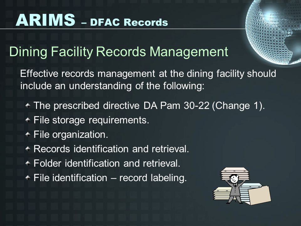 ARIMS – DFAC Records Dining Facility Records Management