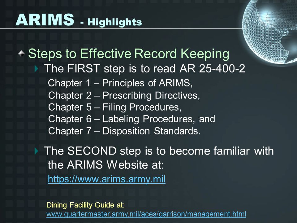 ARIMS - Highlights Steps to Effective Record Keeping