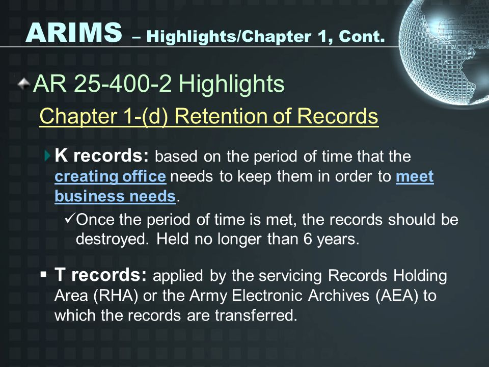 ARIMS – Highlights/Chapter 1, Cont.