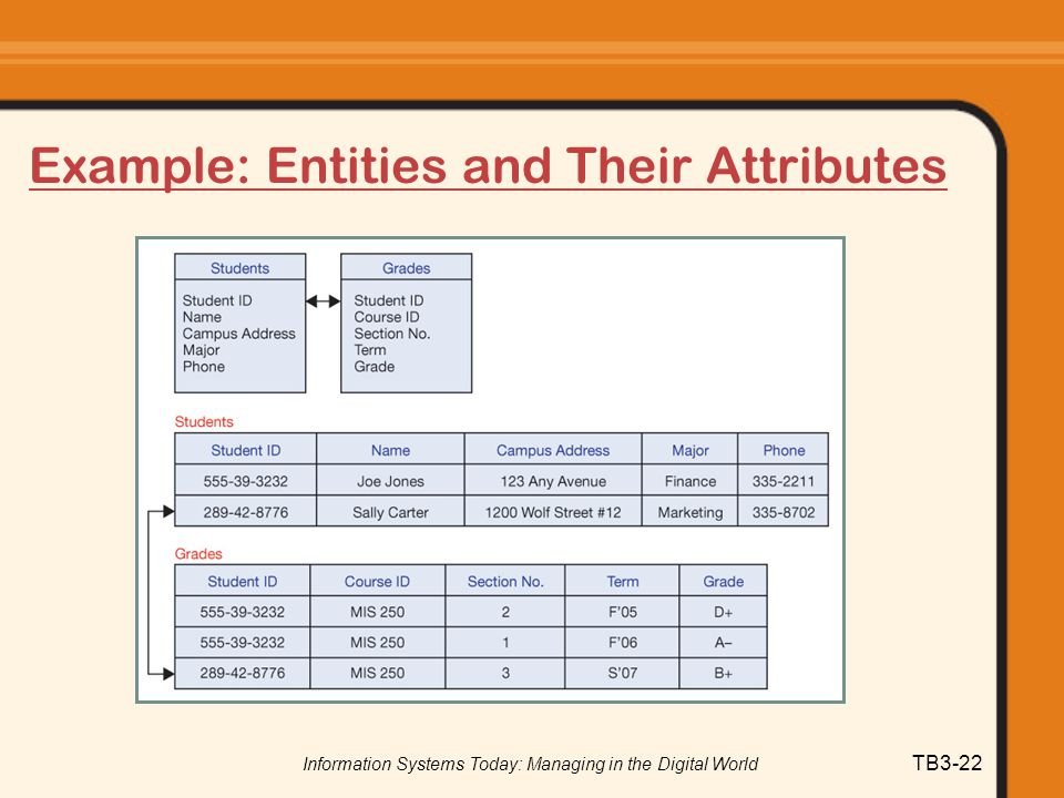 Example: Entities and Their Attributes