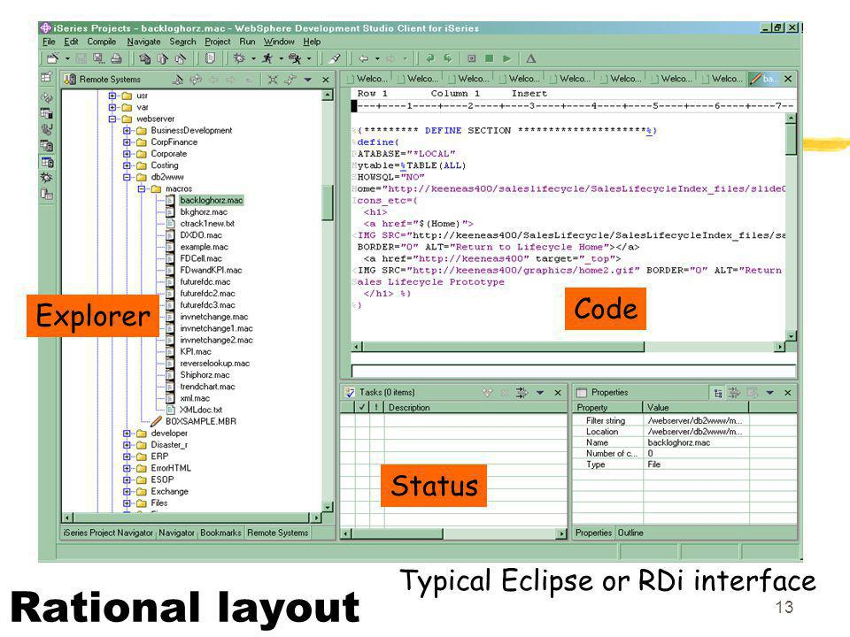 Code Explorer Status Typical Eclipse or RDi interface Rational layout