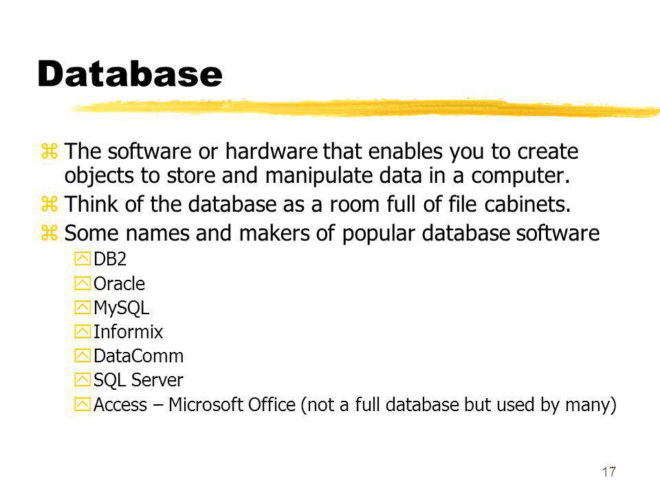 Database The software or hardware that enables you to create objects to store and manipulate data in a computer.