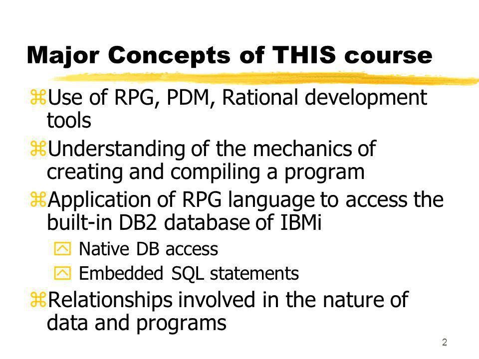 Major Concepts of THIS course