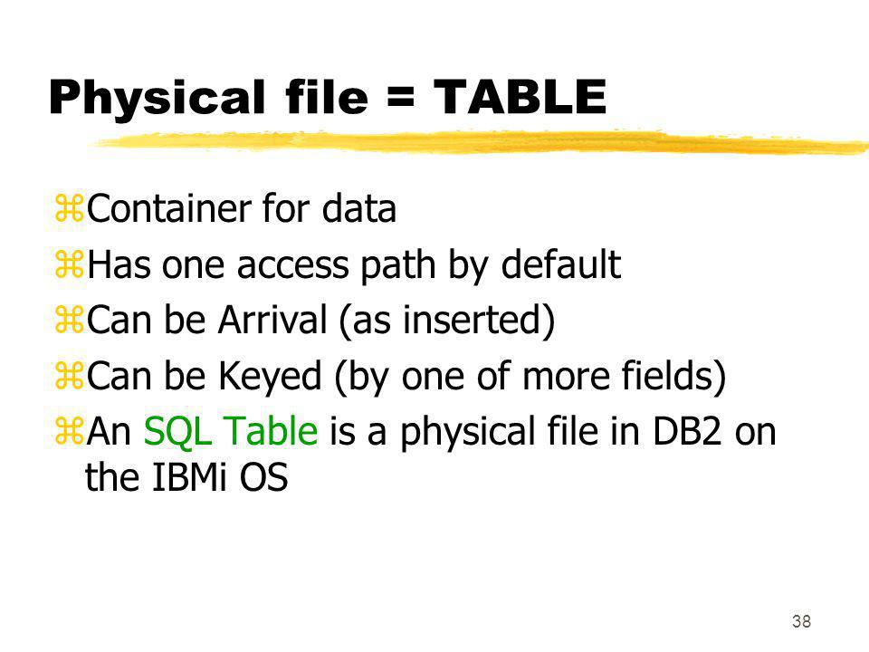 Physical file = TABLE Container for data