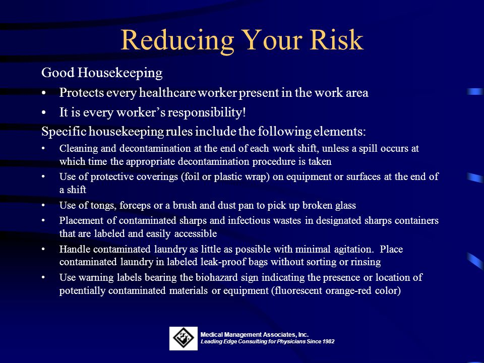 Reducing Your Risk Good Housekeeping
