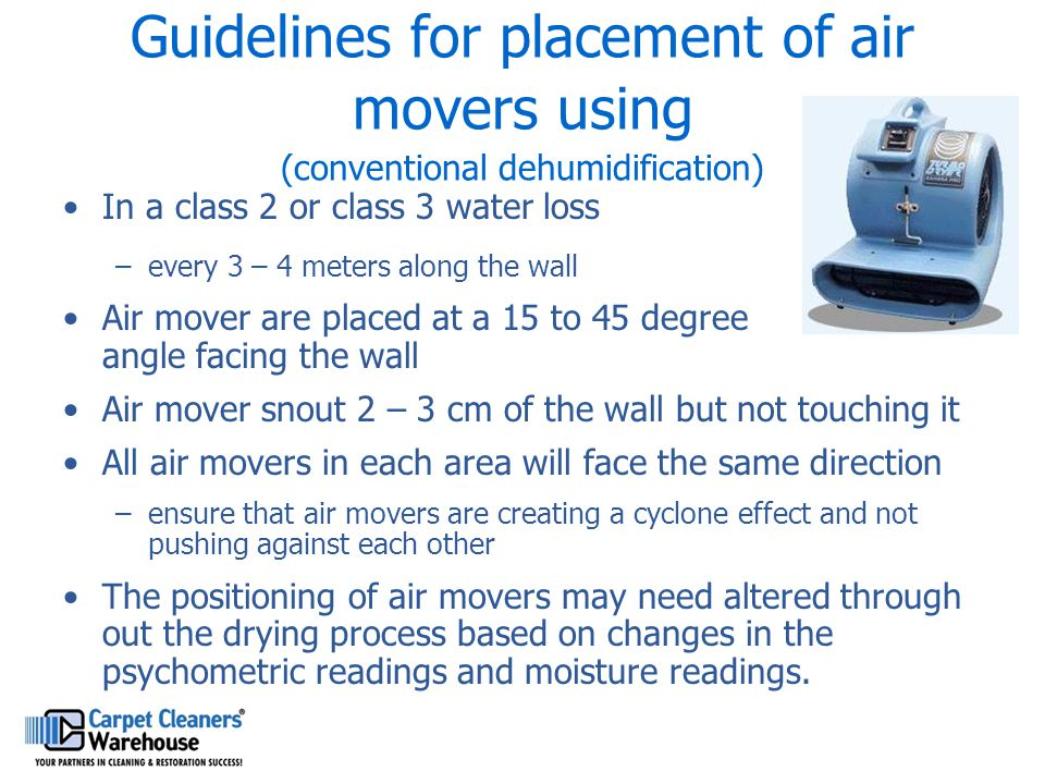 Guidelines for placement of air movers using (conventional dehumidification)