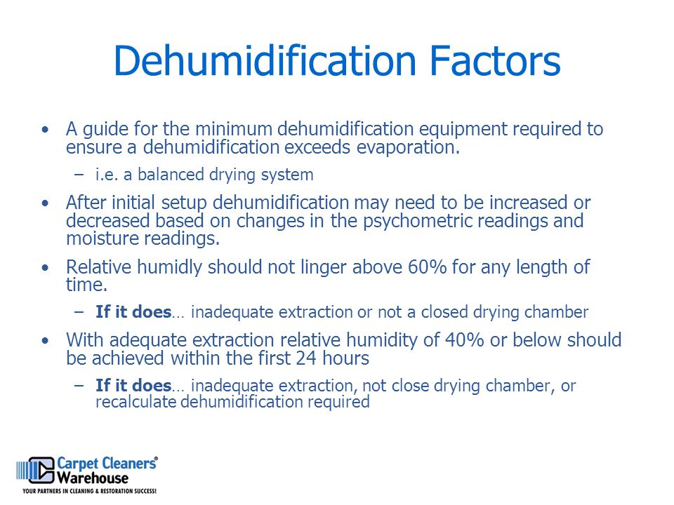 Dehumidification Factors