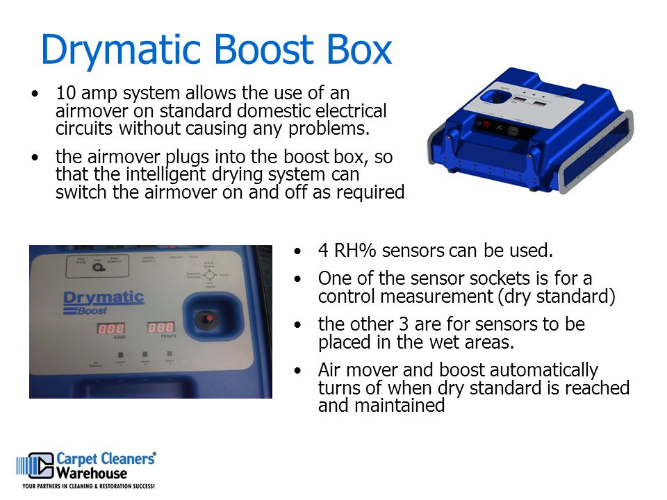 Drymatic Boost Box 10 amp system allows the use of an airmover on standard domestic electrical circuits without causing any problems.