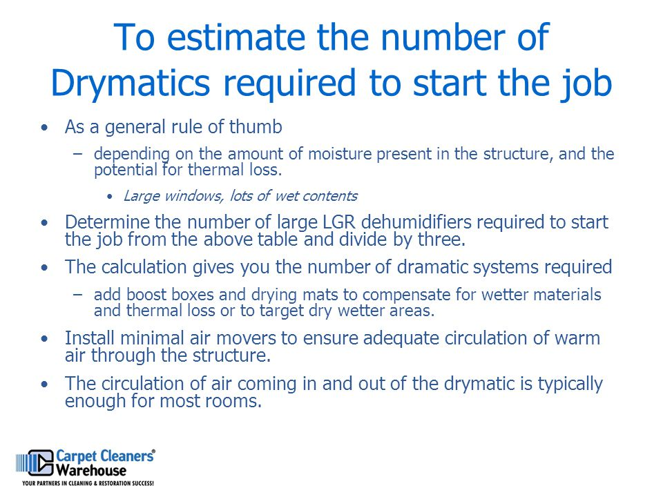 To estimate the number of Drymatics required to start the job