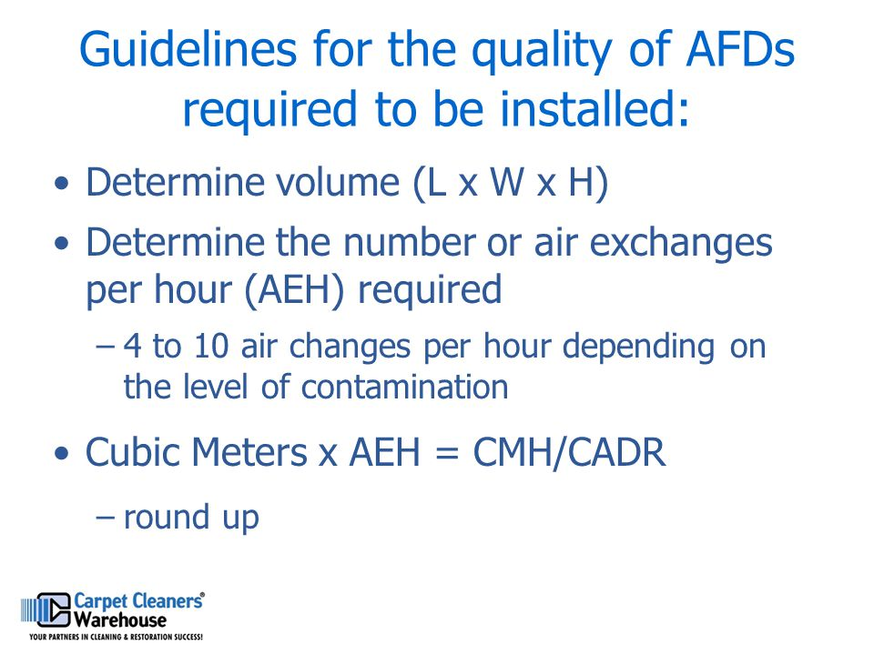Guidelines for the quality of AFDs required to be installed: