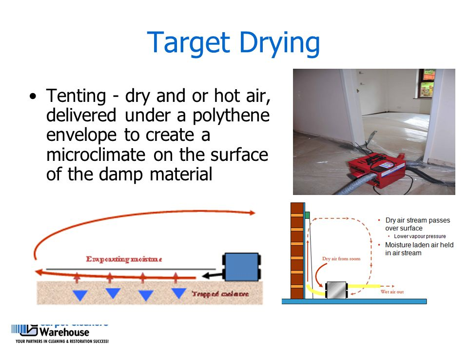 Target Drying Tenting - dry and or hot air, delivered under a polythene envelope to create a microclimate on the surface of the damp material.