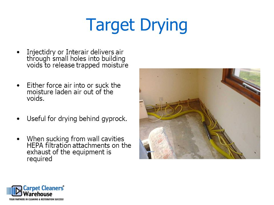 Target Drying Injectidry or Interair delivers air through small holes into building voids to release trapped moisture.