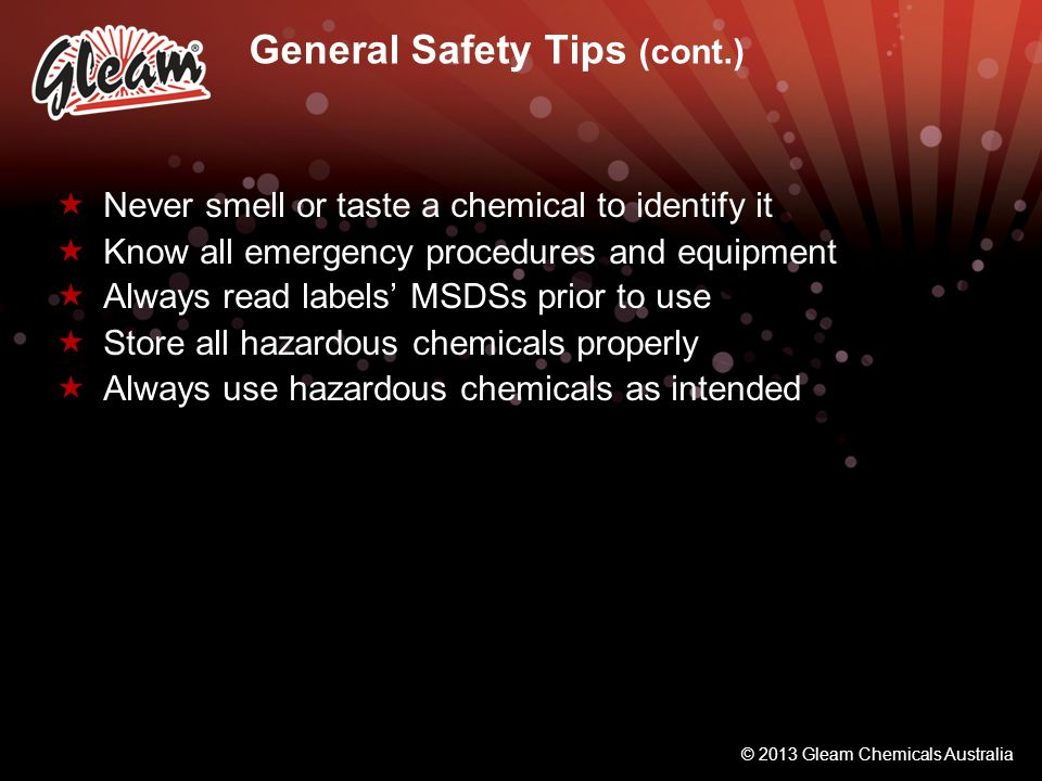 General Safety Tips (cont.)