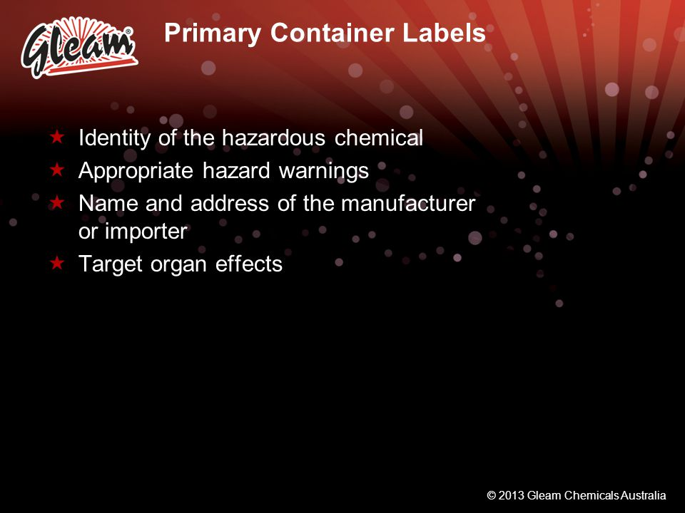 Primary Container Labels
