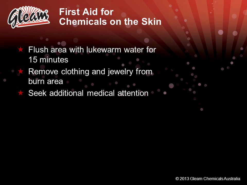 First Aid for Chemicals on the Skin