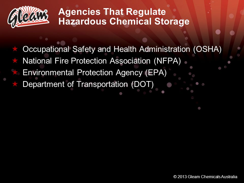 Agencies That Regulate Hazardous Chemical Storage