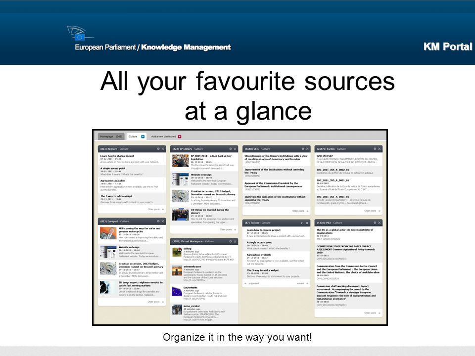 All your favourite sources at a glance