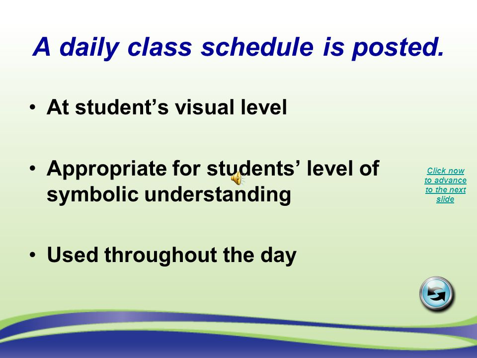 A daily class schedule is posted.