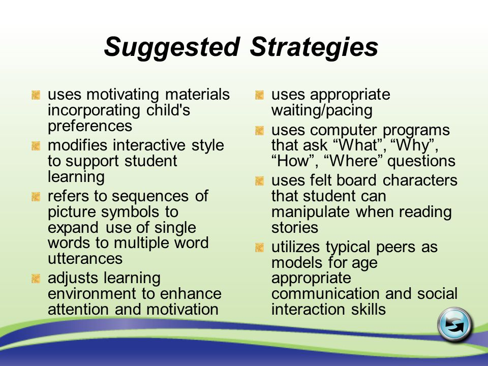 Suggested Strategies uses motivating materials incorporating child s preferences. modifies interactive style to support student learning.