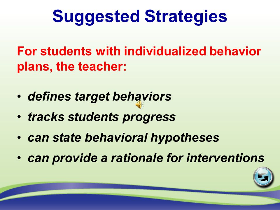 Suggested Strategies For students with individualized behavior plans, the teacher: defines target behaviors.
