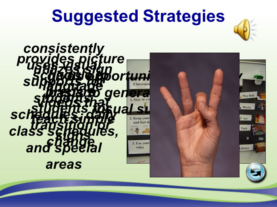 Suggested Strategies consistently uses visual supports for students' schedules, daily class schedules, and special areas.